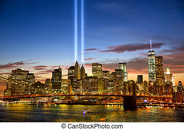 Manhattan skyline and the Towers of Lights (Tribute in Light...