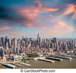 Manhattan skyline from high vantage point.
