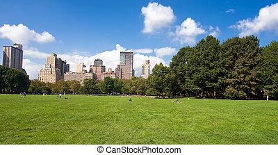 Manhattan skyline from the Central Park, New York, USA
