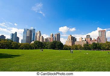 Central Park - Manhattan skyline from the Central Park, New ...