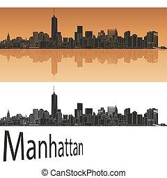 Manhattan skyline in orange background in editable vector ...