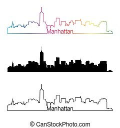 Manhattan skyline linear style with rainbow in editable ...