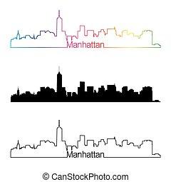 Manhattan skyline linear style with rainbow.eps - Manhattan...