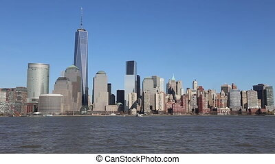 Manhattan Skyline with the Freedom Tower as Seen from New Jersey