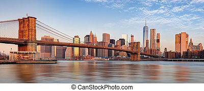 manhattan skyline, nowy york, city.