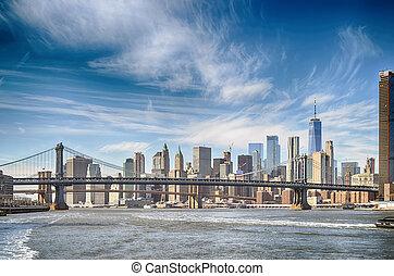 Manhattan skyline with two bridges.