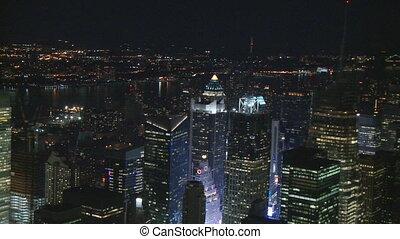 manhattan skyscrapers at night pan shot