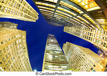 Manhattan skyscrapers looking up