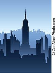 Manhattan Skyscrapers - Skyline silhouette of New York City,...