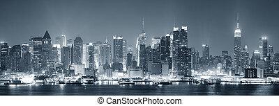 manhattan, sort, byen, york, nye, hvid