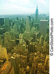manhattan - aerial view of midtown manhattan, enriched...