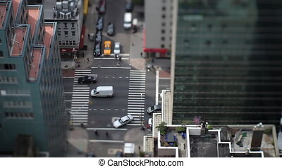 manhattan street scene with traffic and people, nyc, america