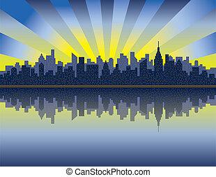 Manhattan Sunrise - A vector illustration of sunrise over...