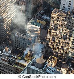 manhattan, sunrise., toits, york, ville, nouveau