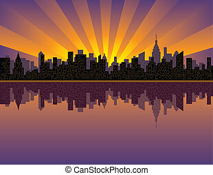 Manhattan Sunset - A vector illustration of sunset over...