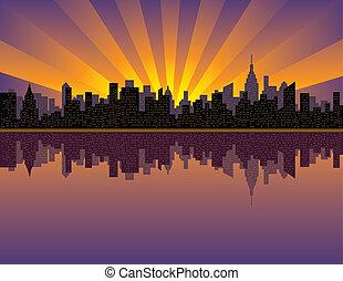 Manhattan Sunset - A vector illustration of sunset over ...
