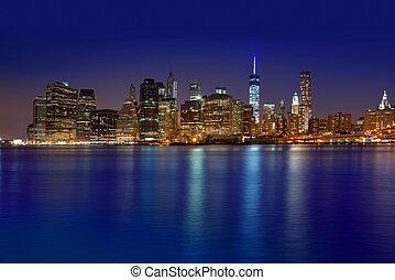 Manhattan sunset skyline New York NYC NY in USA