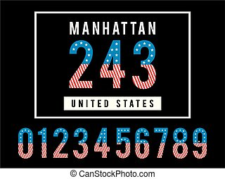 Manhattan template Numbers, the style of the american flag...