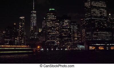 manhattan urban skyline at night and ship new