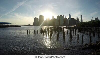 Manhattan View from Brooklyn Bridge Park in 4k