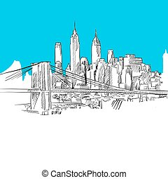 Manhattan with Brooklyn Bridge, Blue Series, Hand-drawn...