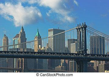 manhattan, y, brooklyn, puentes, nueva york, estados unidos...