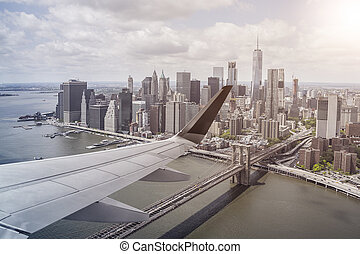 Manhatten aerial view from plane
