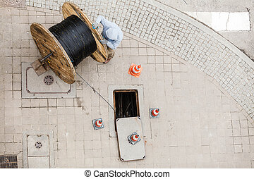 Manhole cleaning sewer line