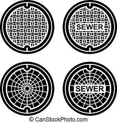 manhole, esgoto, cobertura, pretas, símbolo