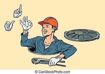 manhole., installatiebedrijf, set, o.k., zoals, aandacht, ...