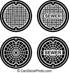 manhole sewer cover black symbol - illustration for the web