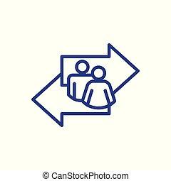 manière, décision, ou, signe, directionnel, choix, dépeindre, vecteur, flèche, confection, icône