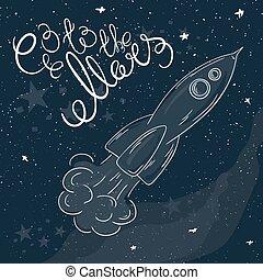 manière, fusée, printable, voler, -, illustration, main, ...