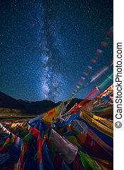 manière, laiteux, drapeaux, au-dessus, prière, tibétain