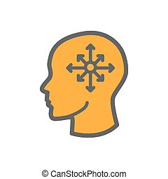 manière, ou, décision, icône, flèche, directionnel, confection, vecteur, signe, dépeindre, choix