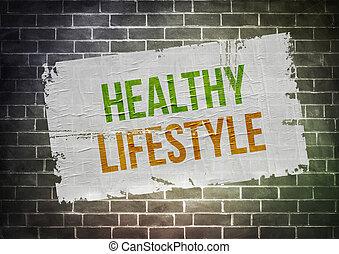 manière vivre saine, concept, -, affiche