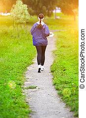 manière vivre saine, concept:, jeune, caucasien, fonctionnement femme, dans, les