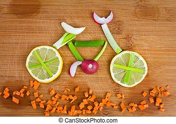 manière vivre saine, concept, -, légume, vélo