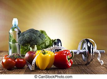 manière vivre saine, concept, régime