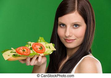 manière vivre saine, -, femme, jouir de, sandwich fromage