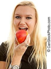 manière vivre saine, femme mange, pomme