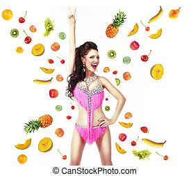 manière vivre saine, &, régime, concept., femme, à, mélange, de, juteux, fruit frais