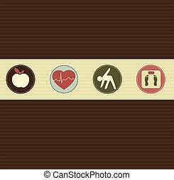 manière vivre saine, symboles