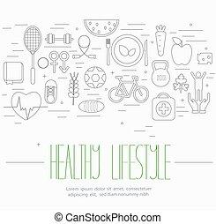 manière vivre saine, symboles, ensemble
