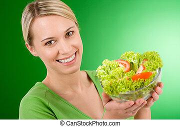 manière vivre saine, -, tenue femme, légume, salade