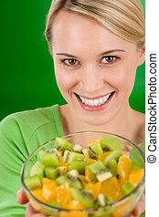 manière vivre saine, -, tenue femme, salade fruits, bol