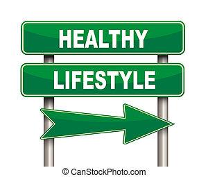 manière vivre saine, vert, panneaux signalisations