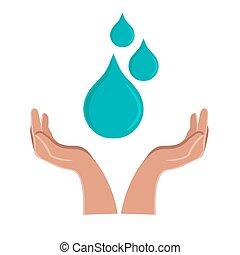 mani, acqua, concetto, presa, mondo, donna, giorno, drop.