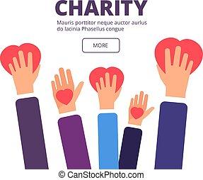 mani, aiuto, manifesto, concept., umanitario, donazione,...