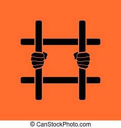 mani, barre, prigione, presa a terra, icona